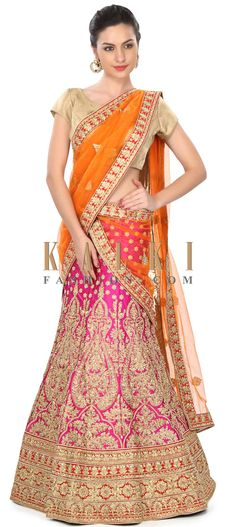 Buy Online from the link below. We ship worldwide (Free Shipping over US$100) Price- $229 Click Anywhere to Tag http://www.kalkifashion.com/semi-stitched-lehenga-in-rani-pink-with-zari-and-kundan-embroidery-only-on-kalki.html