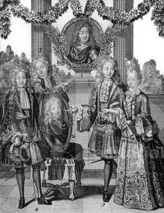 The legitimate grandchildren of Louis XIV (in upper medallion) and children of Louis, le Grand Dauphin (in lower medallion): Philippe duc d'Anjou, Charles duc de Berry, and Louis duc de Bourgogne (Petit Dauphin) with his wife Marie-Adelaide de Savoie, duchesse de Bourgogne, 1697 engraving, French school.