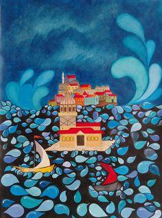 #Kızkulesi (Maiden's Tower) by Armağan Ortaç  Kağıt üzerine #Akrilik / #Acrylic on Paper 33cm x 44.5cm  #gallerymak #sanat #minyatür #gemi #deniz #acrylicpainting #ship #tablo #türkiye #contemporaryart #miniature #painting #istanbul #arte #artbasel #artsy #instaart #artoftheday #fineart #artgallery