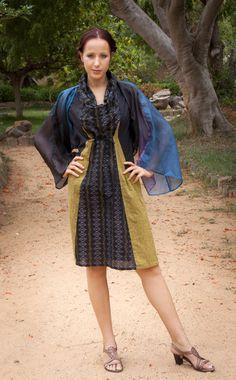 Karma dress, hand woven ikat cotton.  Kesang shrug, hand dyed kota pure silk.