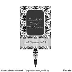 Black and white damask wedding cake topper