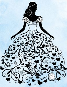 Woman in a ball gown - art by ? - Woman in a ball gown – art by ? Art Quilling, Quilling Patterns, Fashion Sketches, Art Sketches, Art Drawings, Silhouette Art, Silhouette Projects, Story Drawing, Stencil Painting