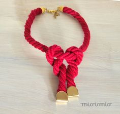 Eco friendly necklace.Nautical necklace.Rope necklace.Urban necklace.Red fuchsia color jewelry.Sustainable jewelry.Knot necklace