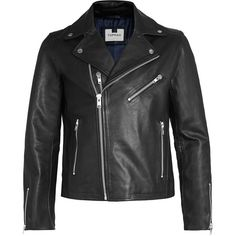 TOPMAN Black Leather Biker Jacket (1.030 BRL) ❤ liked on Polyvore featuring mens, men's clothing, men's outerwear and men's jackets