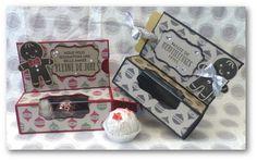 """Figurez-vous que le projet de cette semaine a une histoire assez similaire à celle du projet """" Etui à Sachets de Thé """"... Guess what ? Th... 3d Paper Crafts, Diy And Crafts, Stampin Up Christmas, Christmas Cards, Christmas Cookie Cutters, Santas Workshop, Box Packaging, Stamping Up, Sachets"""