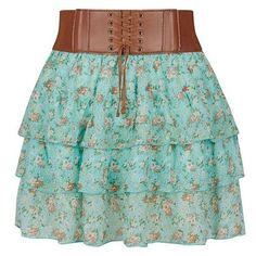 Teens Mint Green Ditsy Floral Rara Skirt ❤ liked on Polyvore featuring skirts, green skirt, mint skirt and mint green skirt