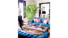 Plush sofas in a cool blue hue