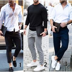 """1,2 or 3? Which business casual you would wear for work? <a class=""""pintag searchlink"""" data-query=""""%23modernmencasualstyle"""" data-type=""""hashtag"""" href=""""/search/?q=%23modernmencasualstyle&rs=hashtag"""" rel=""""nofollow"""" title=""""#modernmencasualstyle search Pinterest"""">#modernmencasualstyle</a>"""