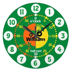 Boys learn to tell time green yellow orange personalized tractor clock. Art and design by www.sarahtrett.com