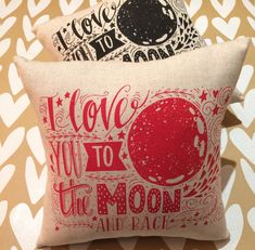 Excited to share the latest addition to my #etsy shop: Love you to the Moon and Back cushion, Valentines Cushion, Valentines Pillow http://etsy.me/2nkxgnc #housewares #pillow #red #cotton #kids #square #veteransday #wedding #polyester