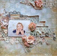 Blue Fern Studios: January Sketch Challenge Winner and Featured Layouts Mixed Media Scrapbooking, Digital Scrapbooking Layouts, Scrapbook Sketches, Scrapbook Page Layouts, Scrapbook Cards, Baby Girl Scrapbook, Scrapbook Background, Photo Layouts, Scrapbook Embellishments