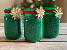 Green Mason Jars, Ball Mason Jars, Mason Jar Sconce, Mason Jar Lighting, Holiday Decorating, Christmas Decorations, Christmas Gift Sets, Christmas Mason Jars, Decorated Jars