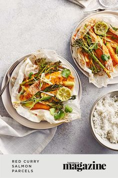 These speedy red curry salmon parcels are served with coconut basmati rice. Full of Thai-inspired flavours, this warm and healthy meal is ready in just 30 minutes. Get the Sainsbury's Magazine recipe Coconut Basmati Rice, Curry In A Hurry, Best Curry, Soup Recipes, Healthy Recipes, Midweek Meals, Food Trends, Recipe Collection, Quick Easy Meals