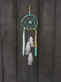 White Turquoise Bohemian Dreamcatcher  by WildForestGallery