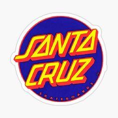 Skateboard Deck Art, Skateboard Design, Santa Cruz Stickers, Cute Stickers, Santa Cruz Logo, Beach Logo, Dot Logo, Travel Design, Blue Yellow
