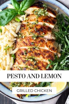 Chicken With Pesto, Garlic Pesto Chicken, Lemon Basil Chicken, Grilled Lemon Chicken, Clean Chicken, Chicken And Veggie Recipes, Grilled Chicken Breast Recipes, Summer Chicken Recipes, Recipe Chicken