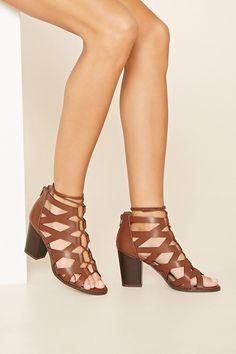 Cutout Lace-Up Block Heels