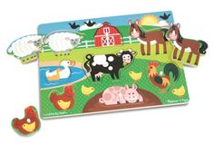 Melissa-Doug-Child-Toddler-Kids-Wooden-Farm-Animal-Peg-Puzzle-8-Pieces-9050