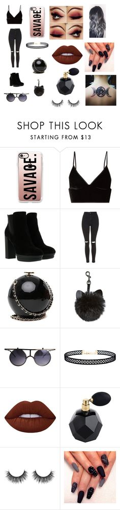 """""""black is life"""" by evanspam on Polyvore featuring Casetify, T By Alexander Wang, Hogan, Topshop, LULUS and Lime Crime"""