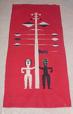 Vintage Mexican Rug or Wallhanging of Adam and Eve | eBay