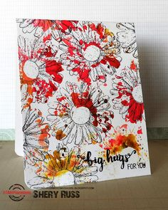 Card by Shery using Bloom Sketches, Fond Expressions, and ARTplorations Daisy Dance stencil