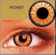 Beautifyeye: Glamour Honey Coloured Contact Lenses  (3Month Lenses). I don't know how opaque the colour is- If it is weak, it will not conceal very dark eyes- a lovely looking colour though.