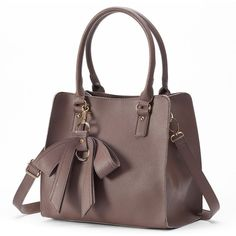 Mellow World Christine Convertible Tote (Brown) ($79) ❤ liked on Polyvore featuring bags, handbags, tote bags, brown, brown tote, faux leather tote bag, tote, brown purse and vegan leather tote