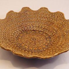 Crochet doily impressed into clay. Crochet Doilies, Crane, Pottery, Ceramica, Pottery Pots, Doilies Crochet, Ceramics, Ceramic Art