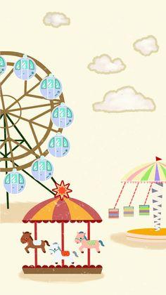 Hand painted cartoon amusement park ferris wheel Cartoon Chef, Cartoon Pics, Park Disney, Photo Booth Business, Easter Cartoons, Happy Valley, Simple Cartoon, Kids Poster, Banner Design