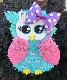 Items similar to Custom Made Large Owl Pinata on Etsy Owl Themed Parties, Owl Parties, Owl Birthday Parties, 1st Birthday Girls, Baby Birthday, Birthday Ideas, Valentine Box, Valentines For Kids, Yarn Wall Art
