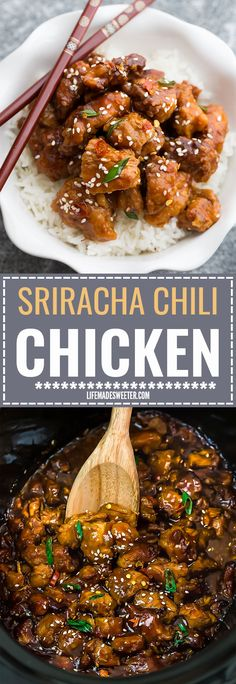 Slow Cooker Sriracha Chili Chicken Meal Prep Lunch Bowls - coated in a sweet, savory and spicy sauce that is even better than your local takeout restaurant! Best of all, it's full of authentic flavors and super easy to make with just 15 minutes of prep time.Weekly meal prep for the week and leftovers are great for lunch bowls for work or school.