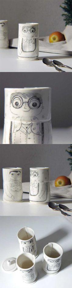 Handmade porcelain mug, illustrated with a amusing matryoshka. Lovely ceramics by karachoKERAMIK