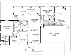 Ranch 4 Beds 3 Baths 3189 Sq/Ft Plan #1-793 Main Floor Plan - Houseplans.com