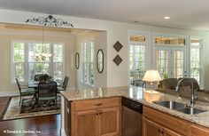 Open kitchen of The Jarrell #1017. http://www.dongardner.com/house-plan/1017/the-jarrell. #Kitchen #OpenConcept #DreamHome