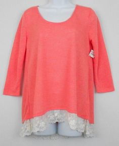79d1d0b6a30 Arizona Jeans Womens Tunic Top Orange Size M S Polyester 3 4 Sleeve Lace  Trim