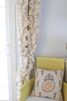 Ruffled Burlap Curtain Tutorial | The Caldwell Project.  Also lots of tips on how to handle burlap when sewing or crafting.