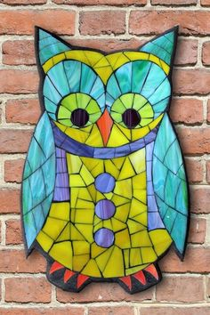 Student Work from a Kasia Mosaics Stained Glass Mosaic Owl Workshop - Owl Mosaic by Cathy. Sign up for an All Level Class via www.kasiamosaics.com