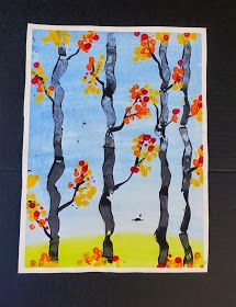 Oh my gosh! I love this!!! Incorporates done printmaking techniques: need sticky back foam and paper towel roll, Qtips for adding leaves, watercolor background.... So awesome! Could also be a spring project with blossom colors.