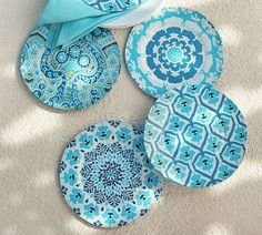 We liked the bright mix of floral patterns in our summer pillow collection so much that we printed it on dinnerware. Unbreakable melamine keeps outdoor dining fun and easy. Blue Pottery, Ceramic Pottery, Pottery Barn, Keramik Design, House Of Turquoise, Ceramic Plates, Aqua, Teal, Mint