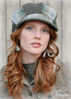 Green Plaid Patchwork Newsboy Hat by GreenTrunkDesigns on Etsy