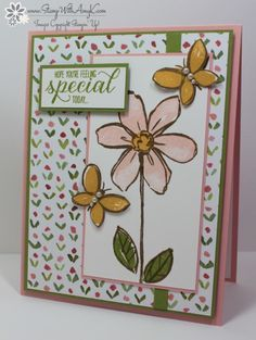 hand crafted card ... Garden In Bloom from Stamp With Amy K ... pretty flower on sweet patterned paper ... triple stamp images ... sweet!