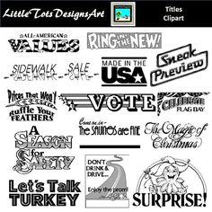 Digital Scrapbook Word Art Titles Clip art, Scrapbook Titles, Quote Digital Stamps for DIY Holiday Card Making & Prints, Word Art Greetings