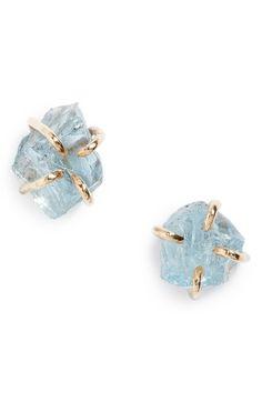 Melissa Joy Manning Raw Aquamarine Stone Stud Earrings available at #Nordstrom