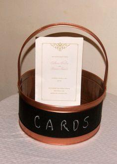 Copper Wedding / Rustic Wedding Basket / by CarolesWeddingWhimsy, Rustic Wedding Basket with Chalkboard - Country Wedding Card Basket - You can find it here https://www.etsy.com/listing/232208847/copper-wedding-rustic-wedding-basket