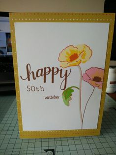 Happy 50th birthday poppy card. Altenew painted poppy stamp set and inks. Hero arts stamp for sentiment.