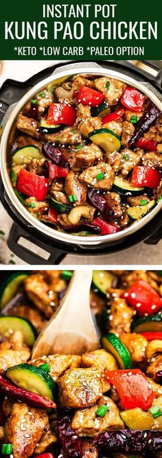 Instant Pot Kung Pao Chicken – the perfect easy pressure cooker recipe to curb that takeout craving for busy weeknights. Best of all, this popular favorite is made healthier with the same classic sweet & spicy flavors as your local Chinese restaurant with low carb, keto and paleo friendly options. Great for make ahead meals on Sunday meal prep for work or school lunchboxes. #instantpot #pressurecooker #kungpaochicken #chicken #lowcarb #keto #takeoutfakeout #asianfood #kungpao #onepot #mealpr Paleo Menu, Paleo Recipes, Low Carb Recipes, Crockpot Recipes, Cooking Recipes, Paleo Food, Zoodle Recipes, Pescatarian Recipes, Raw Food