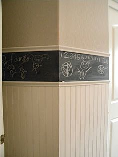 Chalkboard a chair rail in a kids room for some fun. Grand Design: Boys room.