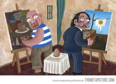 Picasso and Dali painting an egg…