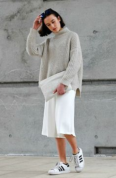 Culottes, Sneakers, Sweater