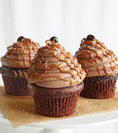 Caramel-Mocha-Sea Salt Cupcakes...can someone make these for my birthday?